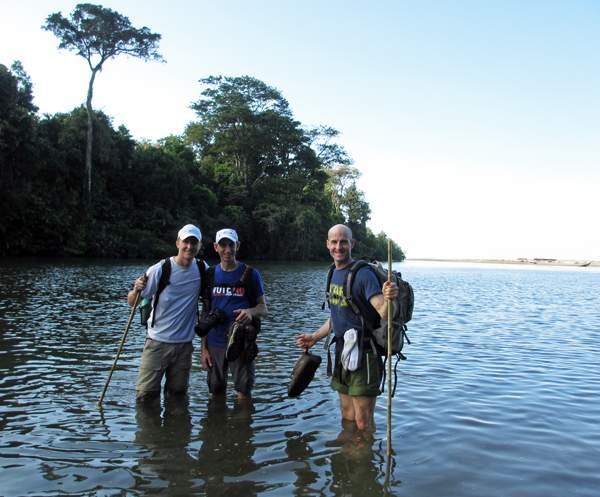 James Wehn (right) rossing the Claro River near the Sirena Ranger Station with Joseph Alfano (center) and Dmytro Koshevy (left). Not shown: crocodile in water 50 meters away.
